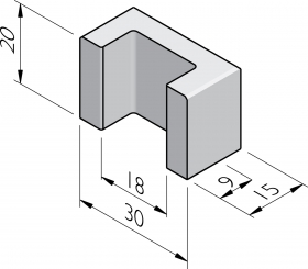 Blocs en U 15x30x20